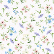 Vector seamless floral pattern with small pink, blue and purple flowers.