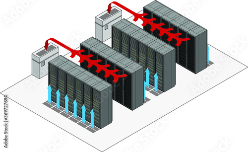 Data center hot and cold aisle rack/cabinet configuration/layout Canvas Print