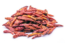 Close Up Dried Red Chili Peppe...
