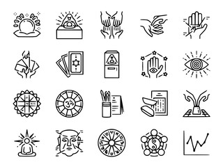Fortune telling line icon set vectoricon, fortune, telling, tarot, card, of, wheel, ouija, shaman, icons