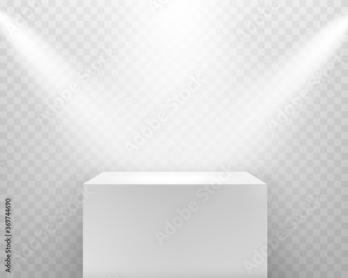 Fotografie, Obraz Pedestal with shadow and spotlights isolated on transparent background