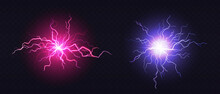 Lightning Ball, Electric Strike Impact. Vector Realistic Set Of Sparking Blue And Pink Flashes, Electrical Discharge Of Thunderstorm Isolated On Dark Transparent Background