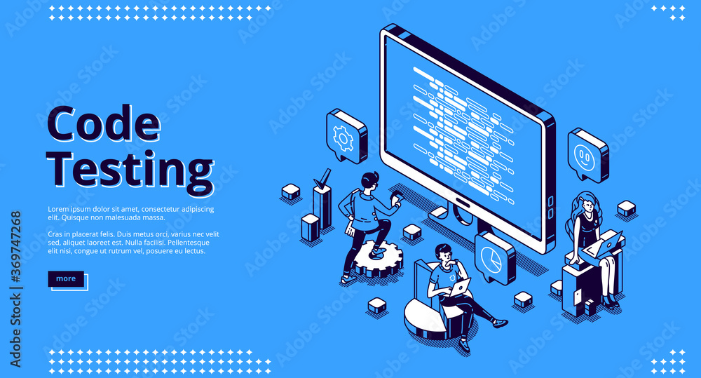 Fototapeta Code testing banner. Concept of search errors and bugs in software, quality control of website or app. Vector landing page of programming test with isometric computer screen and working people