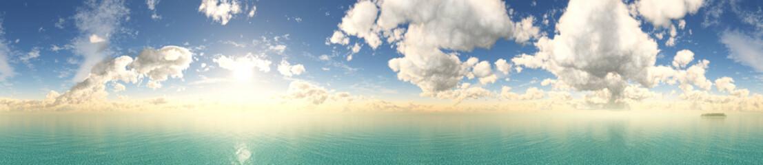 Panel Szklany Podświetlane Do kuchni Beautiful clouds over the sea, seascape panorama, ocean sunrise, 3D rendering