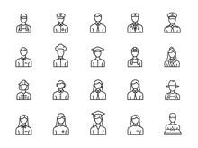 Minimal Profession Line Icon Set