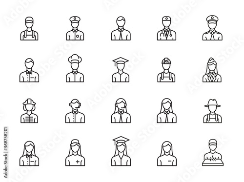minimal profession line icon set Fototapeta