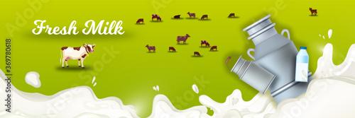 Milk farm background with grazing cows, splash, can, bottle, green field Canvas Print