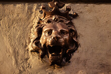 Lion Metal Head Bas-relief On Concrete Wall.