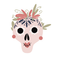 Cute Kawaii For The Day Of Death Pink Skull With Flowers Isolated On White Background. Flat Digital Art. Print For Banners, Poster, Sticker, Packaging, Invitation, Wrapping Paper, Textiles