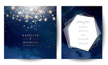 Gold Confetti And Navy Background. Golden Scattered Dust