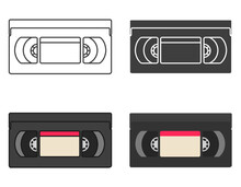 Collection Of Old Videotapes. Icon Set In Different Styles.