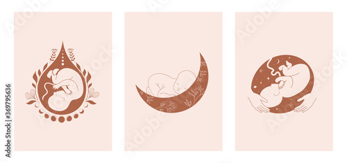 Obraz Motherhood, maternity, babies and pregnant women logos, collection of fine, hand drawn style vector illustrations and icons  - fototapety do salonu