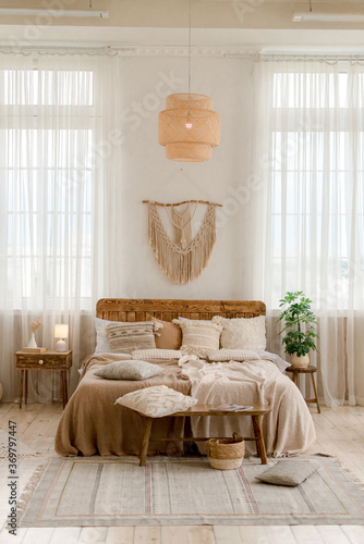 Photo Interior of a bedroom in boho style