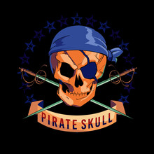 Vector Illustration Of Pirate Skull, With Eye Patch And Two Crossed Swords On Black Background. Pirate Flag Design For Poster Or T-shirt.