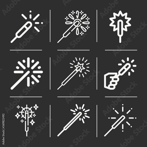 Платно 9 pack of sparkler  lineal web icons set