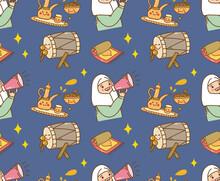 Ramadan Celebration Themed Seamless Pattern Vector Illustration