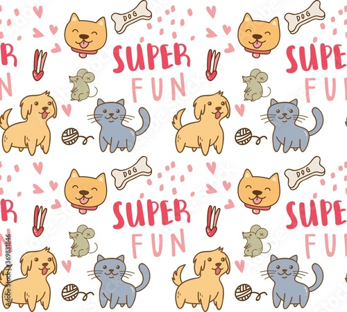 Obraz cute pets with cat and dog seamless pattern vector illustration - fototapety do salonu