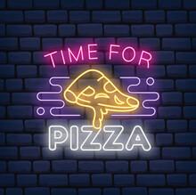 Pizza Restaurant Neon Sign On Dark Brick Background