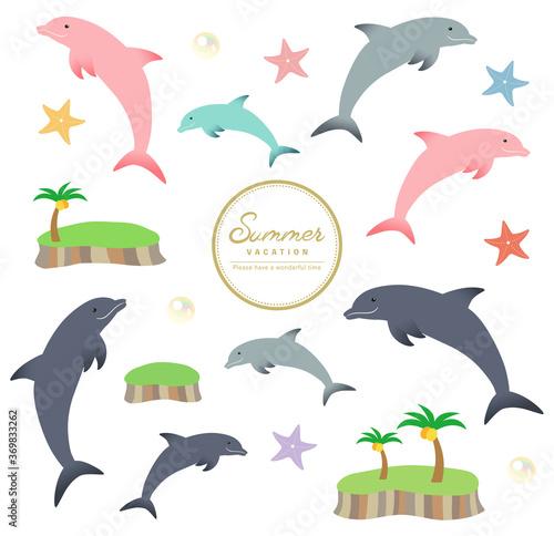 Fototapeta イルカと海のバラエティ素材セット