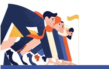 Man And Woman At Business Race Vector Flat Illustration. Office Workers Or Clerks Standing At Starting Position Ready To Sprint Run Isolated. Rivalry Between Colleagues. Professional Competition