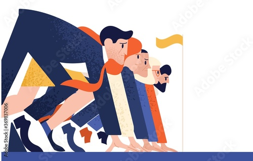 Slika na platnu Man and woman at business race vector flat illustration