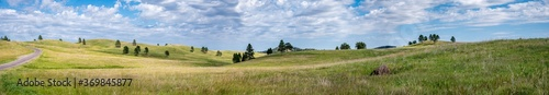 Fotografiet Panoramic open grassland prairie at Custer State Park in South Dakota, USA