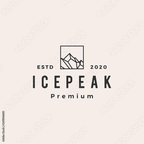 Fotografering icepeak mount hipster vintage logo vector icon illustration