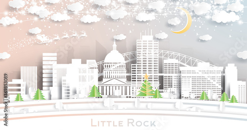 Obraz Little Rock Arkansas USA City Skyline in Paper Cut Style with Snowflakes, Moon and Neon Garland. - fototapety do salonu