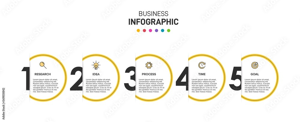 Fototapeta Infographic design with icons and 5 options or steps. Thin line vector. Infographics business concept. Can be used for info graphics, flow charts, presentations, web sites, banners, printed materials.