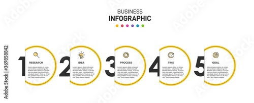 Obraz Infographic design with icons and 5 options or steps. Thin line vector. Infographics business concept. Can be used for info graphics, flow charts, presentations, web sites, banners, printed materials. - fototapety do salonu