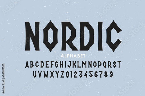 Fototapeta Nordic style font design, alphabet letters and numbers obraz