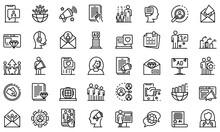 PR Specialist Icons Set, Outli...