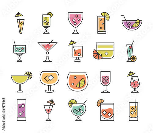 Obraz cocktail icon liquor refreshing alcohol glass cups iced drinks icons set - fototapety do salonu