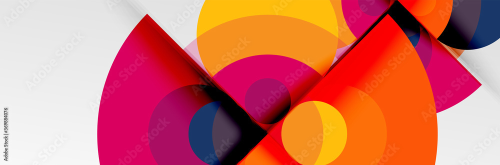Fototapeta Bright color circles, abstract round shapes and triangles composition with shadow effects. Vector modern geometric design template