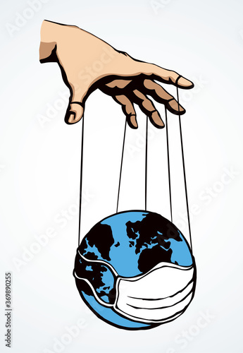 Fototapeta Man hand with a World map. Vector drawing concept obraz