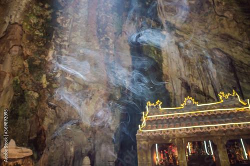 Photo Smoke in a buddhist temple