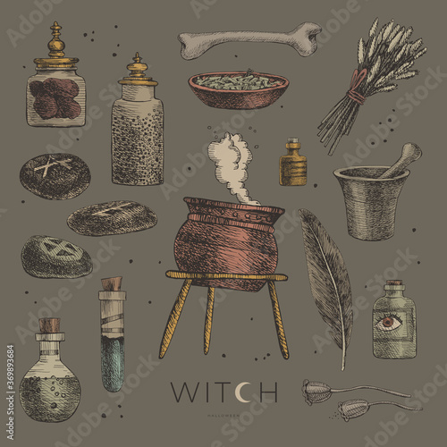 Photo Large set of mystical items for witchcraft vector illustration