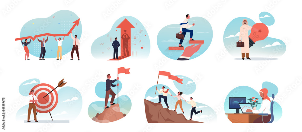 Fototapeta Business, idea, startup, goal achievement, success, celebration, motivation, coworking, teamwork set concept. Collection young businessmen women clerks managers working together and reaching purposes.