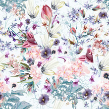 Floral Vector Illustration With Spring And Summer Field Flowers