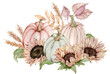 canvas print picture - Watercolor illustration of pumpkins decorated with sunflowers, fall leaves and ears of wheat