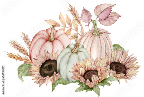 Watercolor illustration of pumpkins decorated with sunflowers, fall leaves and ears of wheat