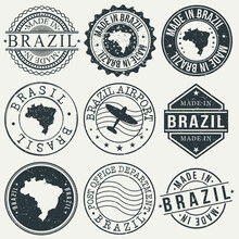Brazil Set Of Stamps. Travel Stamp. Made In Product. Design Seals Old Style Insignia.