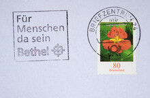 Vintage Retro Briefmarke Stamp Alt Old Letter Post Mail Brief Gestempelt Used Blume Slogan Werbung Bethel Für Menschen Blume Pflanze Flower Kapuzinerkresse Orange 80