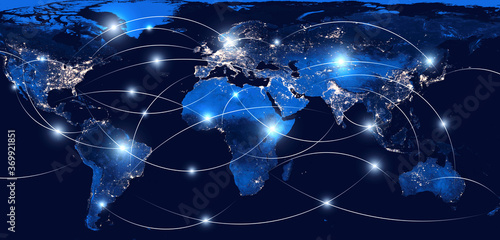 Fototapeta Global networking and international communication. World map as a symbol of the global network. Elements of this image furnished by NASA. obraz