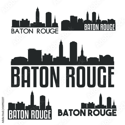 фотография Baton Rouge Louisiana USA Flat Icon Skyline Vector Silhouette Design Set