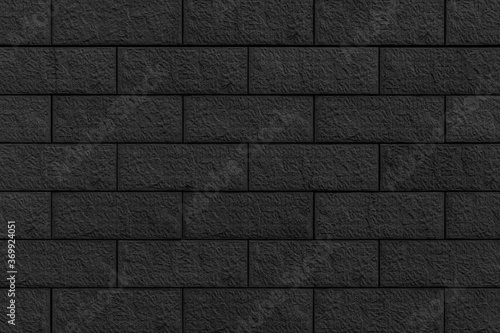 Panorama of Block pattern of black stone cladding wall tile texture and seamless Wallpaper Mural