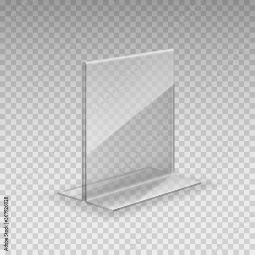 Photo Stand, acrylic table tent, card holder isolated on transparent background