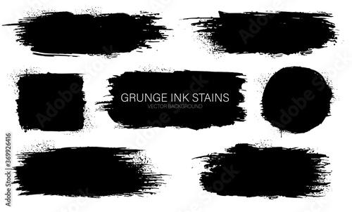 Fototapeta Set of Black ink vector stains. Black ink paint frames for text. Ink brush stroke. Dirty artistic design background for text. obraz