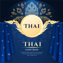 Thai Background Of Blue Color,...