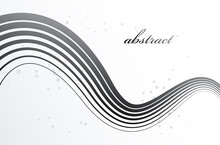 Grey 3D Lines In Motion Dimensional Vector Abstract Background, Elegant Curvy Light Stripy Design Element, Template For Banner Or Poster And Other Ads.
